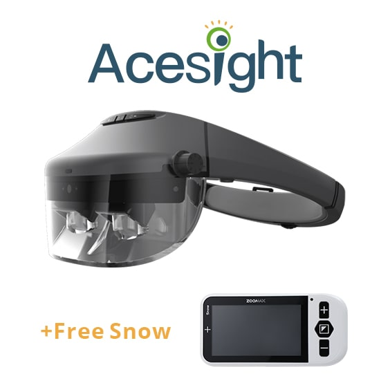 Electronic Glasses For Low Vision Acesight + Handheld Video Magnifier Snow 4.3 Zoomax For Education